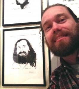 MKN (Mikkel Kirkgaard Nielsen) in front of RMS' portrait (Richard Matthew Stallman) at Bryggeriet Apollo, Copenhagen, Denmark.