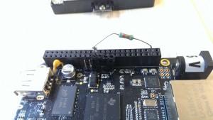 Mocked up voltage divider keeping B_UART0_RX stable.